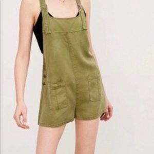 BDG Urban Outfitter olive green overalls romper XS
